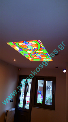 Decorative glass for the ceiling of the house - digital printing directly on the glass by MITSAKOSGLASS