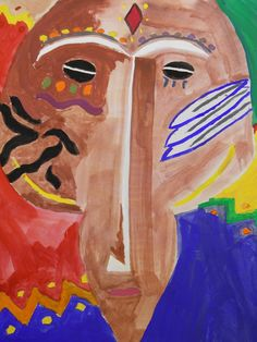 7th Grade Art-African Mask Paintings in Tempera