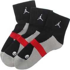 Jordan 3 Pack Low Quarter Basketball Socks (black / grey / red) 427417-016 - $15.99