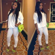Toya looking quite fashion forward in white