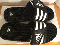 official photos b1d1d 0fa1e Adidas Adissage Mens Black White Velcro Strap Massaging Slides Flip Flops  Size12