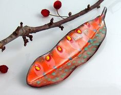 Copper Enameled Big Leaf Art Pin Yellow Red and Pink Fun