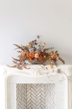 How to Dress Up Your Mantel for Thanksgiving with Flowers Decorating Bathroom Shelves, Decorating Small Spaces, San Francisco Florist, Stone Planters, Amber Interiors, Home Decor Fabric, Traditional House, Decoration, Home Art