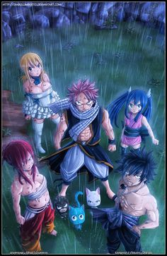 Natsu,lucy,gray,erza,wendy,carla and happy