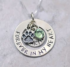 Forever in my Heart-Pet Memorial necklace by SecretSphynx on Etsy