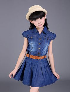 Dresses For Girls Cotton Casual Children Dress For Girls Sashes Button Kids Clothes For Girls Denim Girls Dresses Summer 2017 Kids Outfits Girls, Cute Girl Outfits, Cute Outfits For Kids, Toddler Girl Dresses, Toddler Girls, Kids Girls, Girls Lace Dress, Girls Party Dress, Girls Dresses