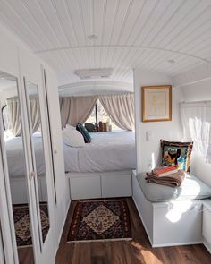 How To Turn A Bus Into A Home Van Life Video life aesthetic life budget life hacks life interior life vehicles Bus Living, Tiny House Living, Van Life, Bus Remodel, Airstream Remodel, Airstream Interior, Vintage Airstream, Airstream Trailers, Vintage Caravans