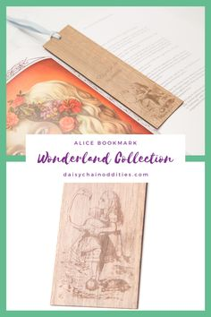 This bookmark is every alice in wonderland Fans dream! It is made of nut wood and a light blue organic cotton satin ribbon. Cute Bookmarks, Were All Mad Here, Daisy Chain, Alice In Wonderland, Organic Cotton, Light Blue, Fans, Ribbon, Satin