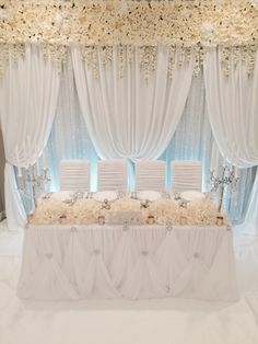 Ivory backdrop with my custom-made floral banner! Head Table Wedding, Wedding Stage, Wedding 2017, Head Table Decor, Head Tables, Stage Decorations, Wedding Decorations, Sweetheart Table Decor, Floral Backdrop