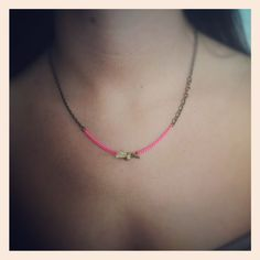 Hot pink and the little gold knot necklace by maddoxandklaus, $18.00