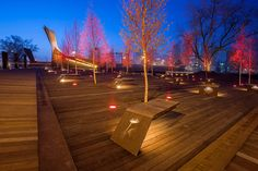 Poppy Plaza by the marc boutin architectural collaborative « Landscape Architecture Works Traditional Landscape, Contemporary Landscape, Urban Landscape, Urban Furniture, Street Furniture, Landscape Lighting Design, Cool Landscapes, Outdoor Lighting, Tree Lighting