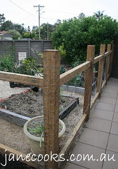 """Naked Food: """"Fencing the Vegetable Garden"""" chicken wire"""