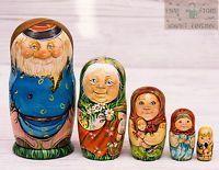 National style Russian wooden nesting dolls matryoshka hand-painted 16 cm 5pcs