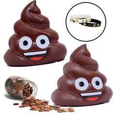 Emoji Coin Piggy Bank with Memory Bracelets Poo Emoji ** More info could be found at the image url-affiliate link.
