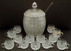 Queen Lace Crystal Punch Bowl Set - May 2009 Bohemia Crystal, Punch Bowl Set, Queen, Milk Glass, Barrel, Auction, Ceiling Lights, Shapes, Bowls