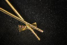"Chopsticks - 24K Gold ""Vermeil""- Gemstones - The House of Solid Gold"
