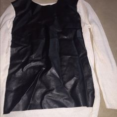 Knit back/ Leather front Blouse Leather front!!! Knit back, so comfortable yet dressy! Worn only twice! Bisou Bisou Tops Blouses