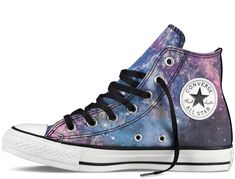 Galaxy Converse Chuck Taylor All-Star Style Converse, Converse Design, Cool Converse, Converse Shoes, Converse High, Converse Fashion, Shoes Sneakers, Converse Chuck Taylor All Star, Converse All Star