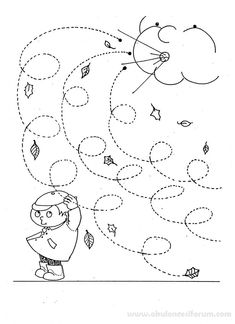 Fall Windy Day line worksheet for kids - Curly lines Mehr Preschool Weather, Weather Crafts, Weather Activities, Fall Preschool, Preschool Lessons, Autumn Activities, Preschool Worksheets, Kindergarten Activities, Preschool Activities