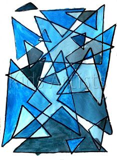 Monochromatic painting w/ geometric shapes