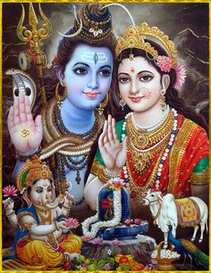 Shiv Parvati and baby Ganapati Shiva Parvati Images, Shiva Photos, Durga Images, Lord Shiva Hd Images, Mahakal Shiva, Lord Vishnu Wallpapers, Shiva Art, Hindu Art, Maa Durga Image
