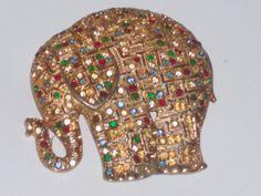 Vintage large Gold tone Elephant Pendant by PatsapearlsBoutique, $9.99