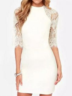 White Lace Panel Half Sleeve Bodycon Dress