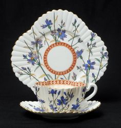 A Stunning Antique Wileman Foley Tea Cup and saucer with plate.--Trio Alexandra Shape