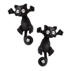 This cute kitty duo are an excited couple of cats, always looking for a cuddle companion. These earrings are made to be worn two ways due to the unique two piece design that allows for the head and body to separate -  the pieces can be placed in front and behind the earlobe giving the illusion that this cat is peeping through, or both pieces simply dangling in front of the earlobe. This handmade, delicate design using the finest acrylic materials, are lightweight made for a comfurrtable fit.