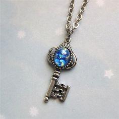 Blue Fire Opal Key Necklace Pendant Sea Blue Opal Necklace Key