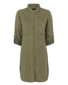 Rails EXCLUSIVE Karlie Army Shirt Dress: The collared shirt dress with snap button placket, tab roll cuffable long sleeves and two patch pockets at bodice. In army. Fabric: 60% lyocell/40% linen   Made in China.   Model Measurements: Height 5'10 1/2; Waist 24 ; Bust 31 wearing size S   Length ...