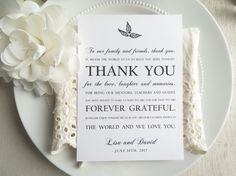 #thankyoucard #weddingreception #weddingdetails  https://www.etsy.com/listing/495286518/printable-wedding-thank-you-card-black