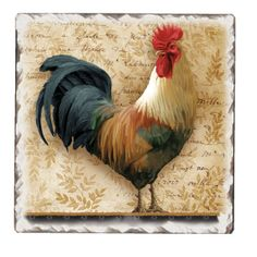 Signature Farm Rooster Cork-Backed Ceramic Tile Trivet Set of 2 Decoupage, Rooster Art, Mosaic Birds, Image 3d, Chicken Art, Chickens And Roosters, Hens And Chicks, Anime Eyes, Art Themes