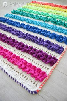 Crochet Pattern, Ruffled Ribbons Blanket, Rug, Afghan, Baby
