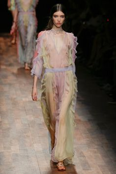 Valentino Spring / Summer 2015 A palette that in parts looked to be informed by Neopolitan ice-cream – a fluttery sheer silk dress floated its way around the body in vanilla, strawberry and chocolate stripes.