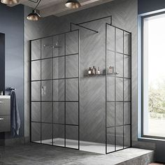 Hudson Reed Black Frame Wetroom Screen with Support Arm Loft Bathroom, Modern Bathroom, Small Bathroom, Small Tile Shower, Black Bathrooms, Bathroom Canvas, Downstairs Bathroom, Beautiful Bathrooms, Wet Room Shower Screens