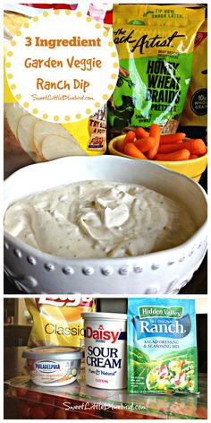 3 INGREDIENT GARDEN VEGGIE RANCH DIP - Awesome served with chips, veggies, pretzels and more! Simple to make...so good!! | SweetLittleBluebird.com