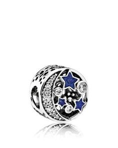 PANDORA Charm - Sterling Silver, Blue Enamel & Cubic Zirconia Vintage Night, Moments Collection | Bloomingdale's