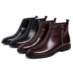 114.67$  Watch now - http://aliadp.worldwells.pw/go.php?t=32547101168 - Top quality zipper black /brown tan mens dress shoes autumn ankle boots genuine leather mens wedding shoes formal work shoes