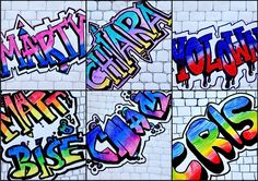 The eighth-graders have received with great enthusiasm the proposal to write their name in graffiti style, even though at the beginning they did not think to get results so beautiful! The process i… Graffiti Kunst, Street Art Graffiti, Art Education Lessons, Art Lessons Elementary, Name Design Art, Name Art Projects, Motif Paisley, Graffiti Lettering Alphabet, Classe D'art