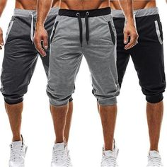 Yaolor-Men Solid Color Harem Training Jogger Sport Shorts Baggy Capri Pants