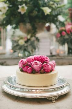 Reception/'Love is Sweet Table: Single layered wedding cake with gorgeous peonies on top - so elegant.