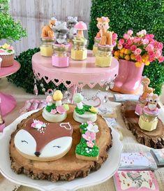 Woodland for little Oli 🍃🍁🐿🦊🌸 … Garden Birthday, Fairy Birthday, Baby Girl Birthday, 1st Birthday Parties, Enchanted Forest Party, Woodland Party, Baby Shower Decorations, First Birthdays, Girly