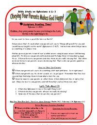 Printable Kids Bible Study on Ephesians 6:1-3