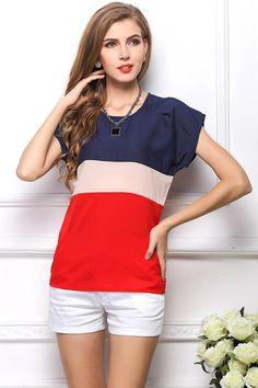 f27410e68ef Women Red Color Block Short Sleeve Casual Top - 3XL Chiffon Shirt, Chiffon  Tops,
