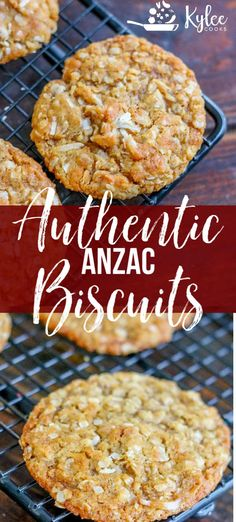 These Authentic Anzac Biscuits Are Fabulous Buttery, Chewy, Oatmeal Coconut Biscuits That Have A Rich History. A Delicious Treat Still Popular Today Via Kyleecooks Best Dessert Recipes, Fun Desserts, Amazing Recipes, Sweet Recipes, Coconut Biscuits, Coconut Cookies, Chewy Anzac Biscuits Recipe, Biscuit Recipe, Sugar Cookies
