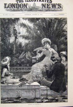 Afternoon Tea in the Conservatory. Printed in 'The Illustrated London News' ~the world's first illustrated weekly newspaper.