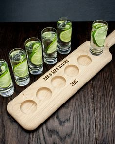 Personalised LSA Shot Glass Paddle, Personalised #Gifts for Men. Quality LSA Shot Glasses presented on a wooden paddle. Great for parties or stag nights, this Shot Glass Set can be personalised on the wooden board with a name, date or special date.