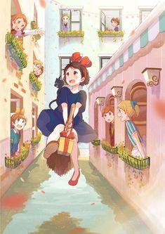 studio ghibli, kiki's delivery service, majo no takkyūbin Studio Ghibli Films, Art Studio Ghibli, Kiki Delivery, Kiki's Delivery Service, Special Delivery, Manga Anime, Anime Naruto, Hayao Miyazaki, Anime Comics