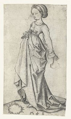 De tweede dwaze maagd, Martin Schongauer, 1470  #PublicDomain